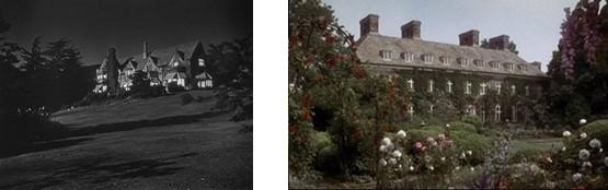 Les deux demeures des Larrabee dans l'original et dans le remake.