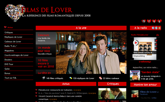 FilmsdeLover.com, version rentrée 2010.