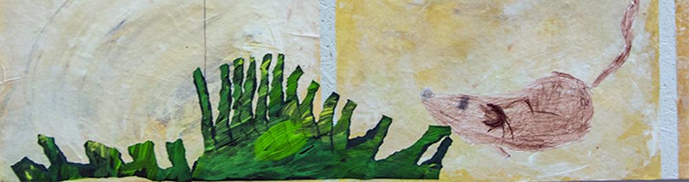 Gräser aus gerissenem, grün bemaltem Papier.