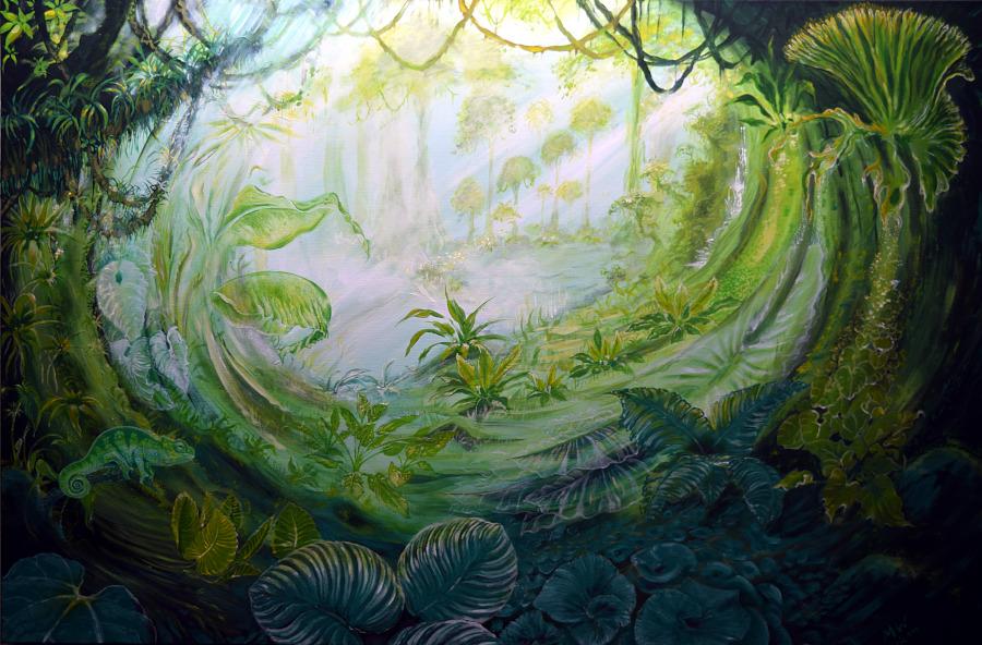 """""""Das Grüne Lied"""", Martin Welzel 2018, 80 x 100 cm, Acryl auf Leinwand"""