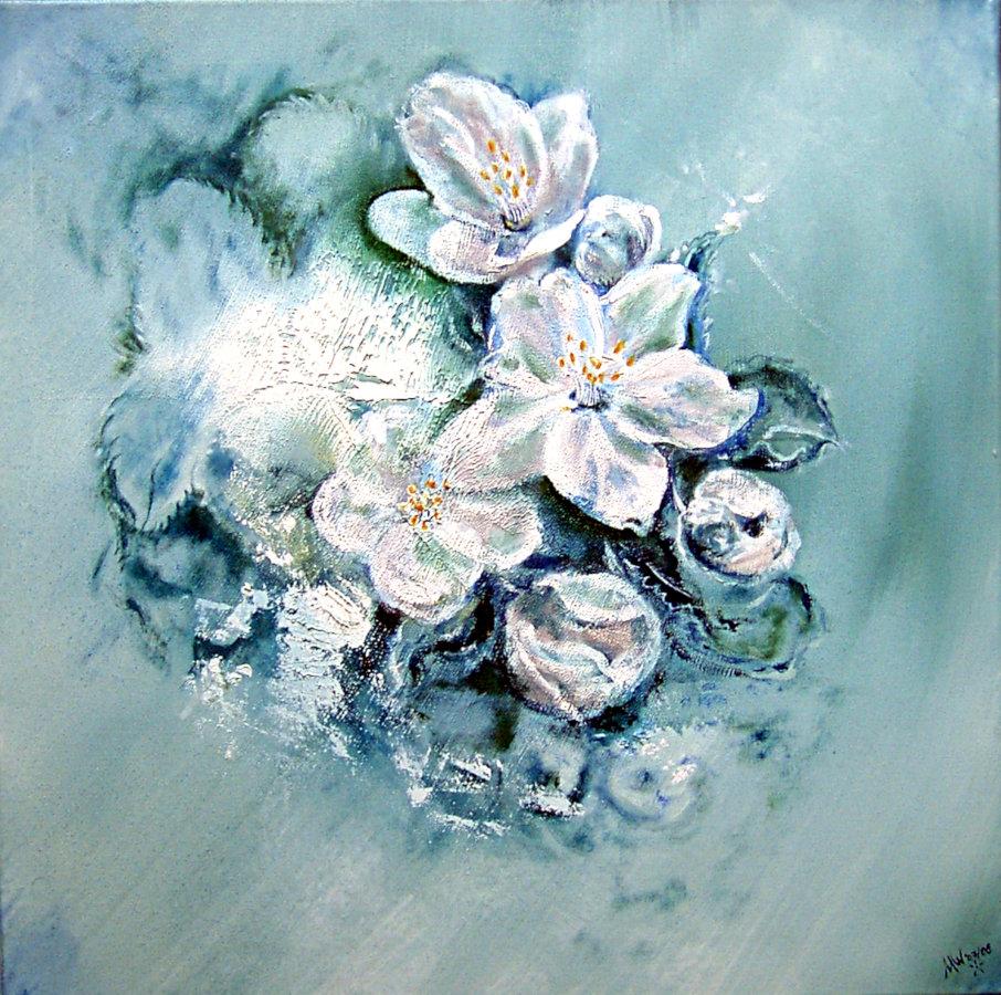 """Apfelblüten"", Martin Welzel 2008, 50 x 50 cm, Ölfarbe auf Leinwand"