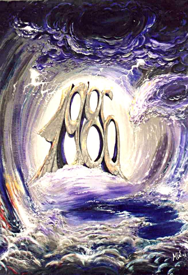 """1986"", Martin Welzel, 50 x 70 cm, Acryl auf Papier"