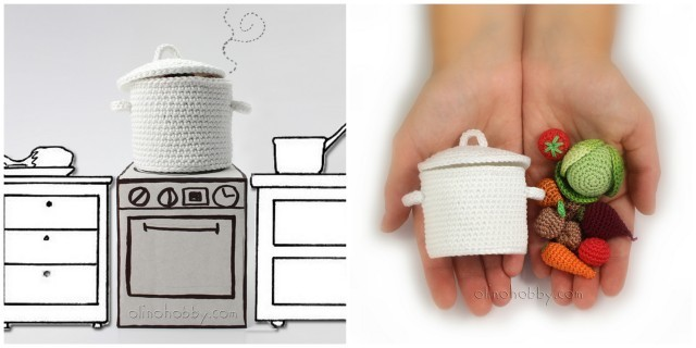 вязаная еда описание, миниатюрное вязание, вязаные овощи и посуда, вязаные овощи крючком, вязаный борщ