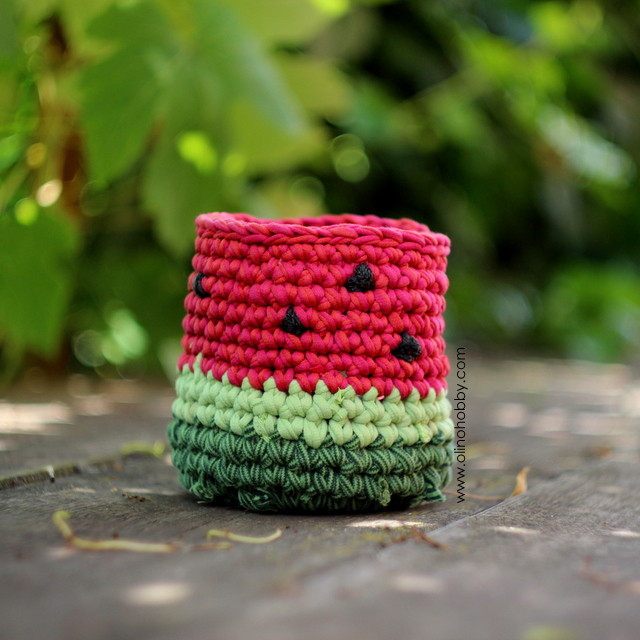 crochet basket watermelon