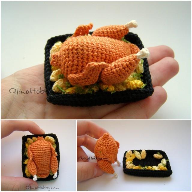 вязаная еда описание, миниатюрное вязание, вязаная курица крючком, мастер-класс по вязанию игрушек