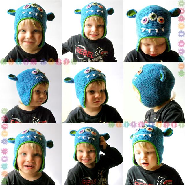 вязаная шапка-монстр, шапка с монстром спицами, детская шапка с ушами, вязаная монстро-шапка