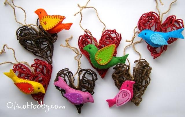 Wicker hearts with felt birds on Valentine's Day