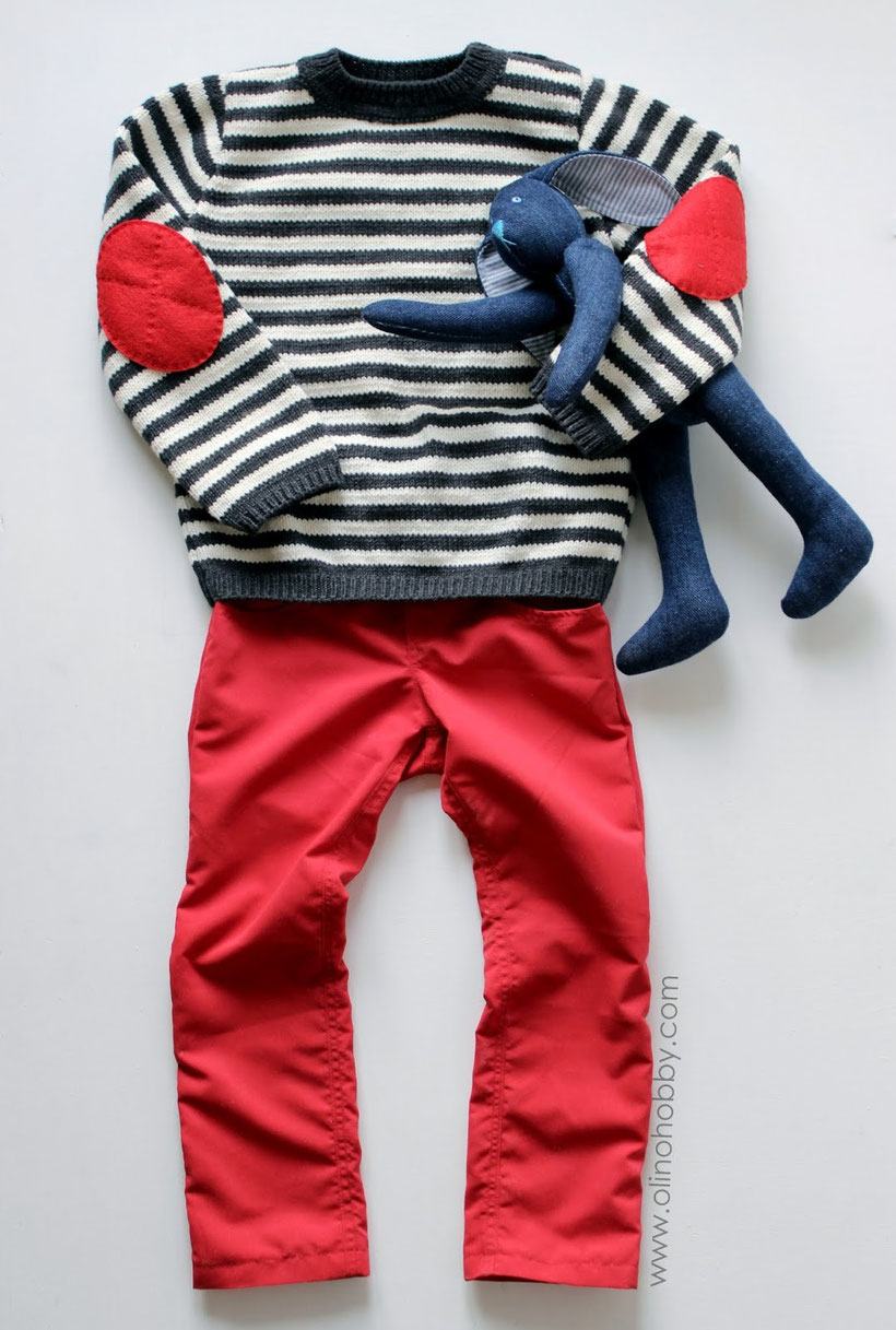 Striped sweater and red skinny pants for my son