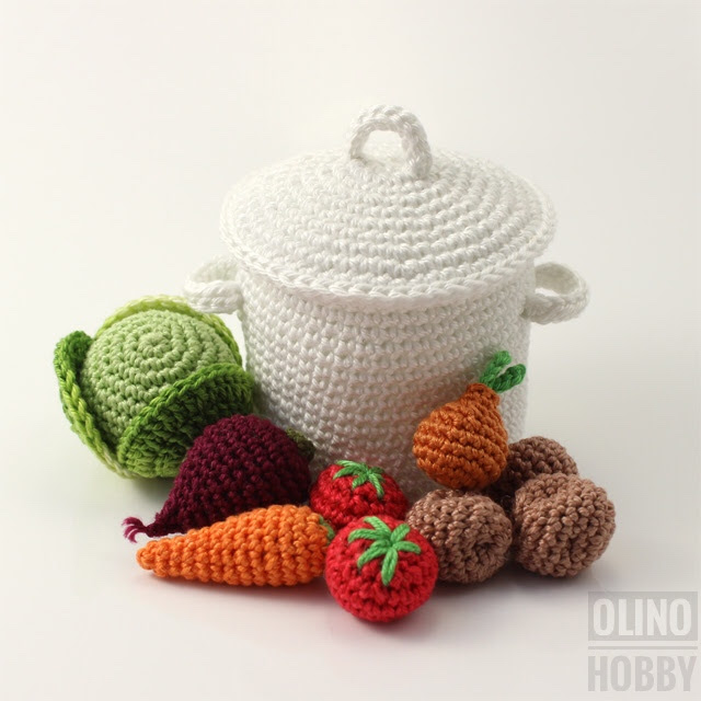 Crochet Pattern 'Pot with mini vegetables' $4.99