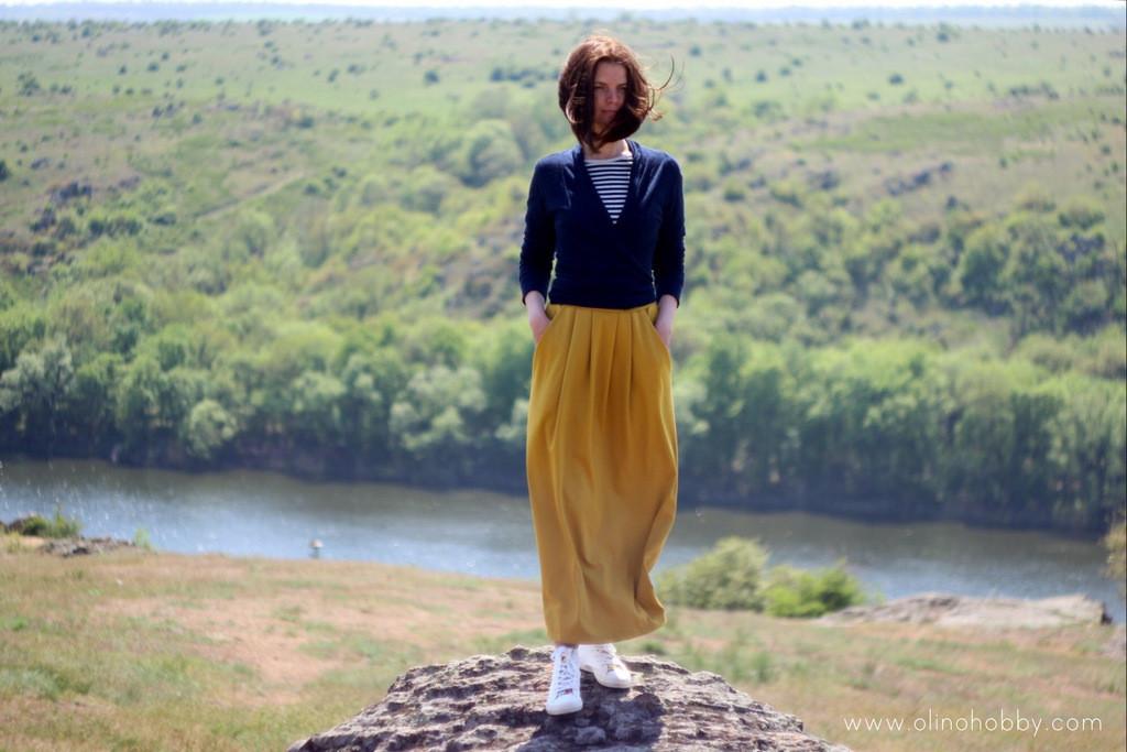 Желтая юбка макси, трикотажная юбка горчичного цвета.