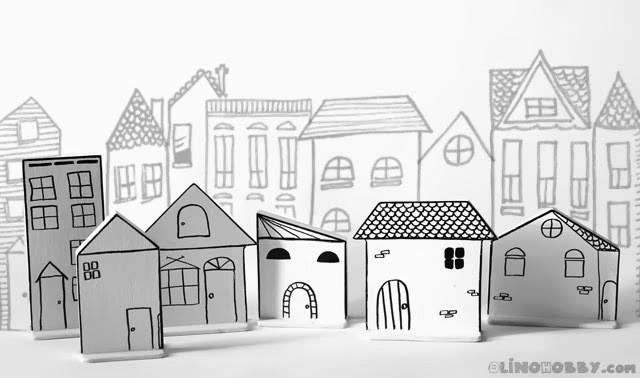 игрушечные домики из фанеры, игрушечный деревянный город