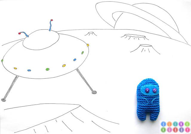 Crochet Alien amigurumi toy