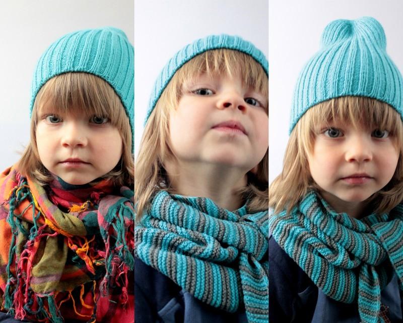 Детская вязаная шапка. Шапка спицами резинкой 2х2.