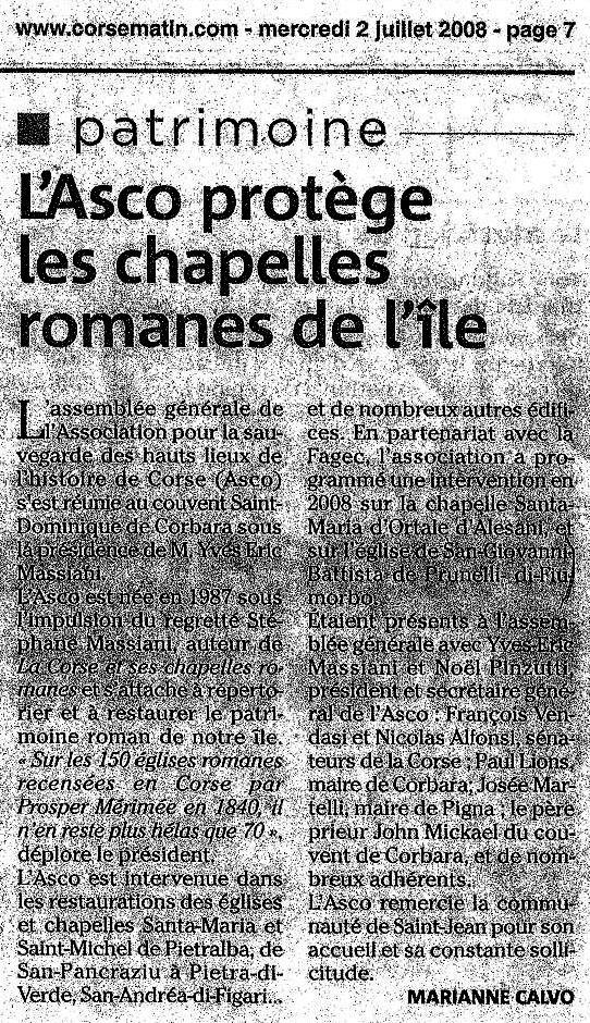 L'ASCO protège les chapelles romanes de l'ïle - Patrimoine Corse