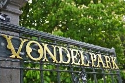 Vondel park entrance sign in Amsterdam