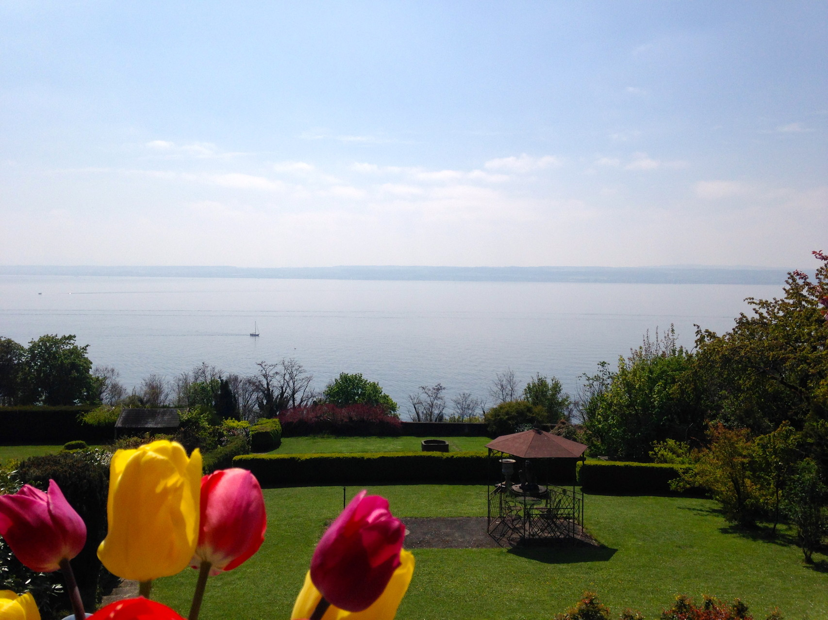 The view: garden and lake