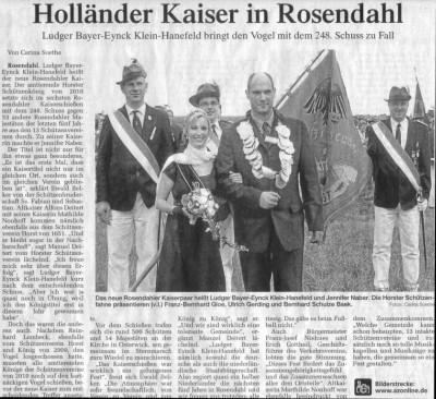 Bericht der Allgemeinen Zeitung, Coesfeld vom 23. August 2010
