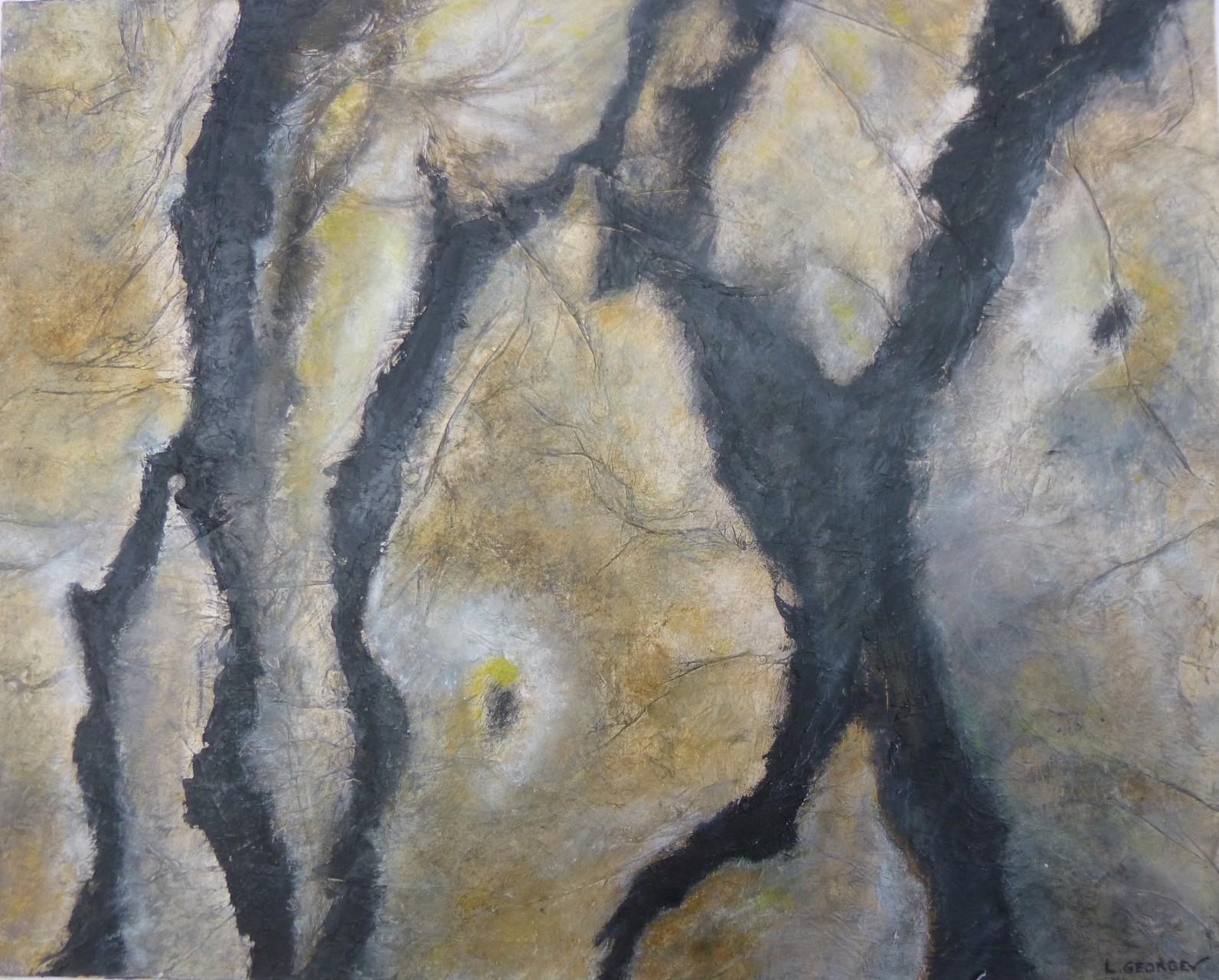 FRAGMENTS, techniques mixtes sur toile, 40x50cm