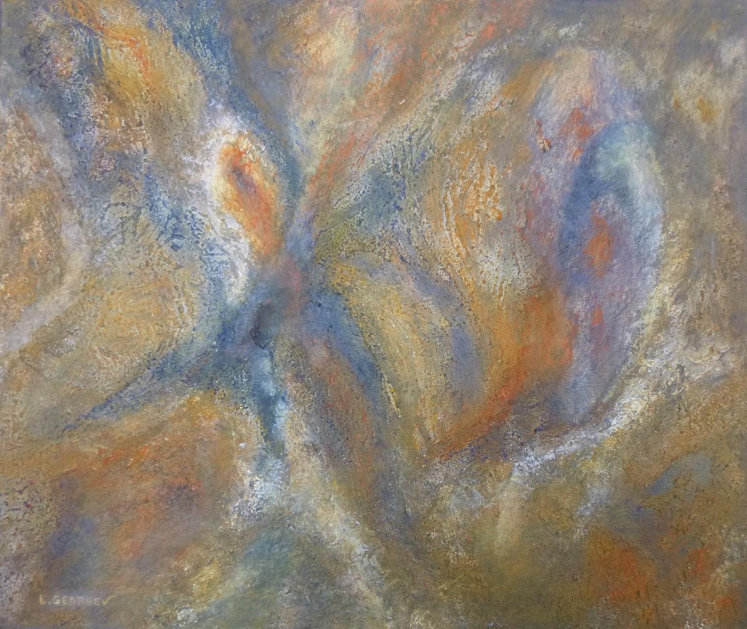 ÉVEIL, techniques mixtes sur toile, 46x55cm