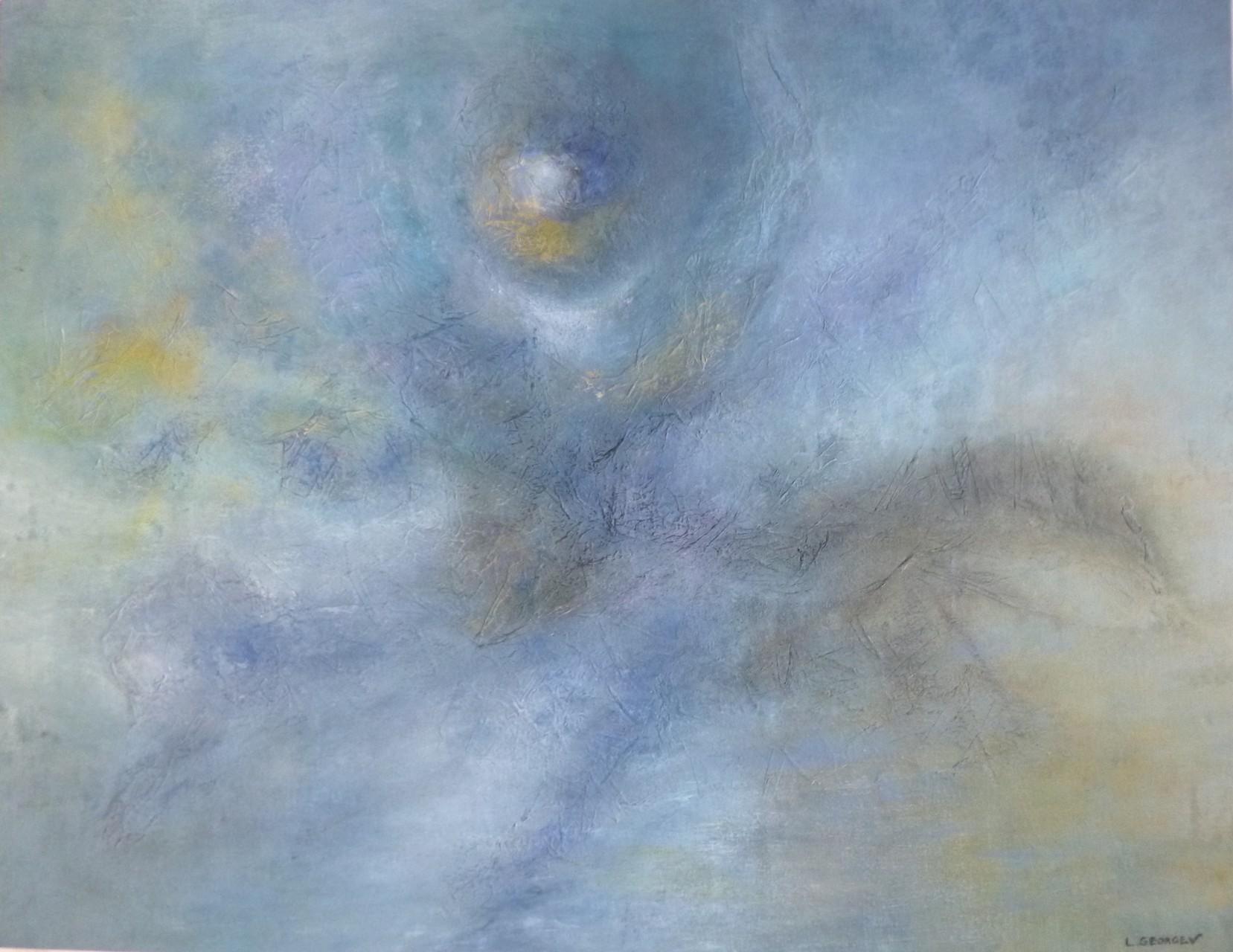 GRAND BLEU, techniques mixtes sur toile, 50x65cm