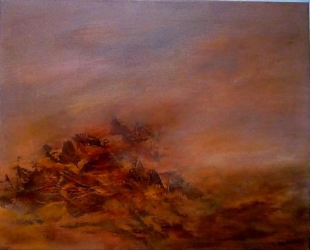 BRAISES, acrylique sur toile, 40x50 cm