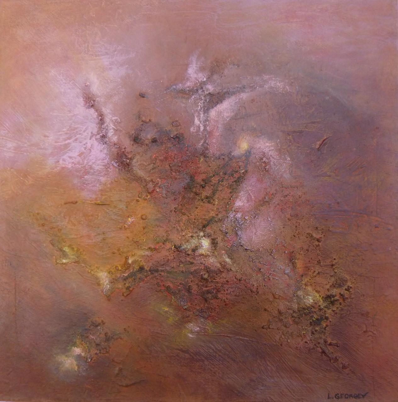 ÉCLATEMENT, techniques mixtes sur toile, 40x40cm