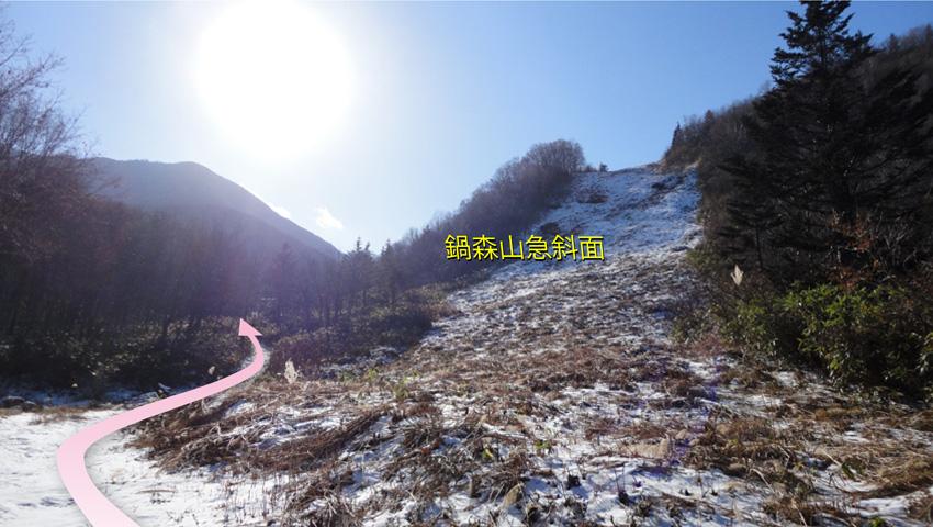 「鍋森山」急斜面はスキー場開設前のコースで、パウダースノーを垂直に降りる感じだった