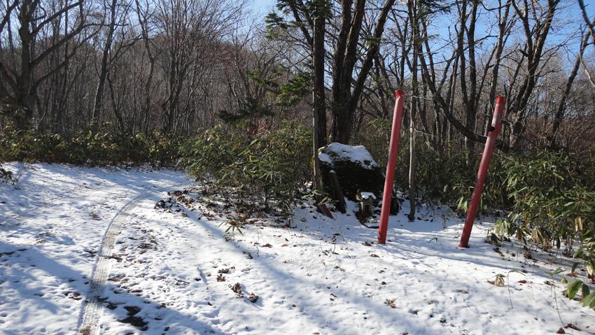 1.2kmほどで右カーブ手前に壊れた鳥居と小さな祠