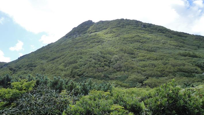 山頂左の「耳成岩」目指しヤブの多い道を登る