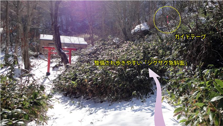 三番目の分岐「第二石神神社?」右に。最初、藪だが直ぐに立派な参道になる