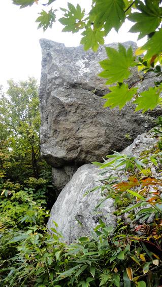 景色の良い左の登山道には奇岩が