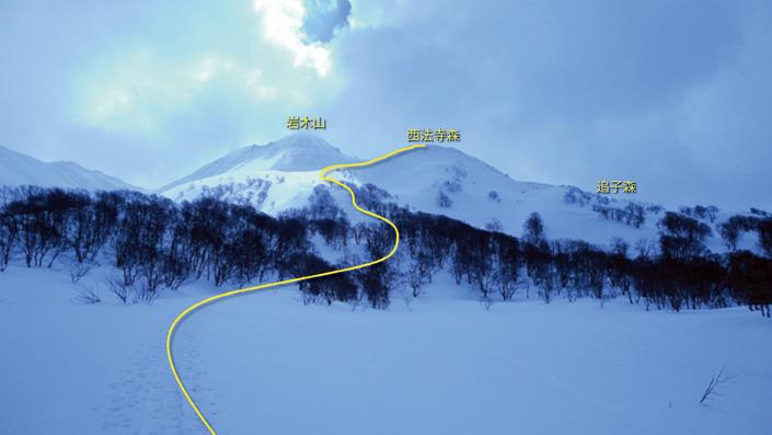 4. 今日は P 1020地点でゴール、下山は山麓までスキー。帰路「二ツ森山」に寄る