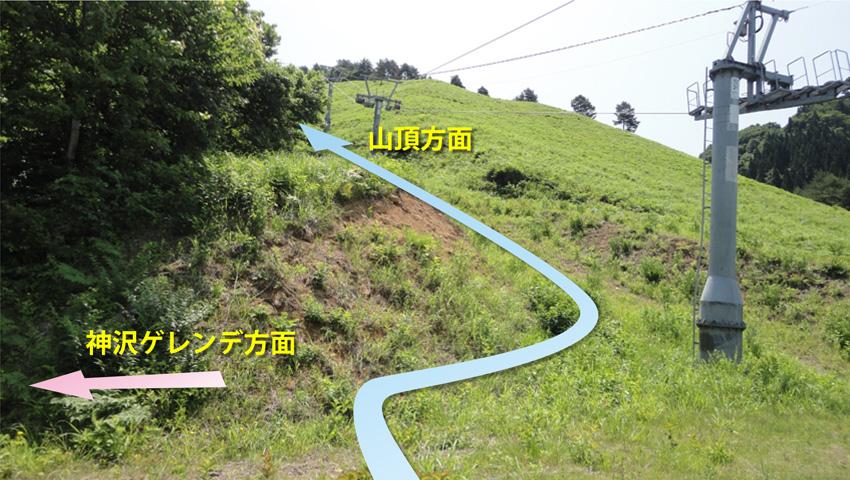 5.  「前平バーン」へと登山道が続く。左折で「神沢ゲレンデ」