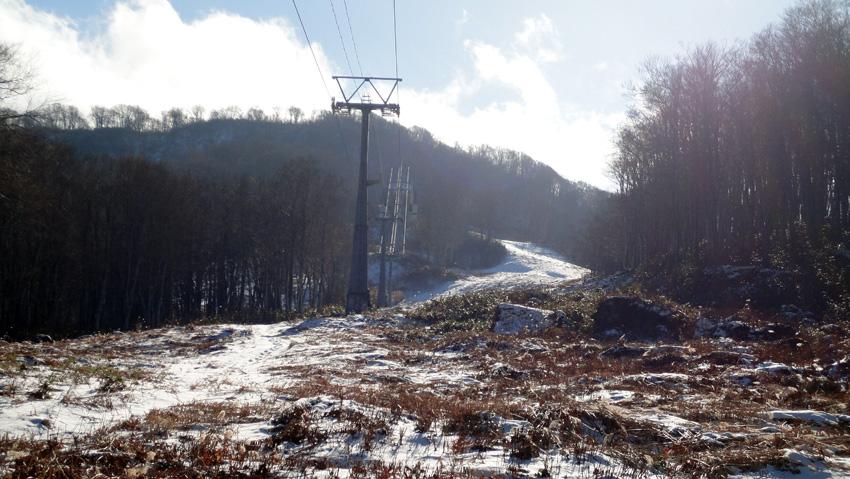 直ぐ上に再度、樹林帯へ入る登山口(ガイドテープあり)とゴンドラ山頂駅