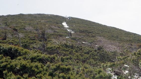 「赤倉岳」尾根の手摺が見えるが此処からが辛い
