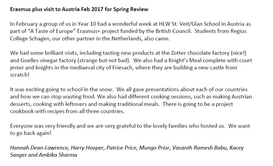 OPHS: Spring Review 2017, LTTA in St. Veit Feb 2017