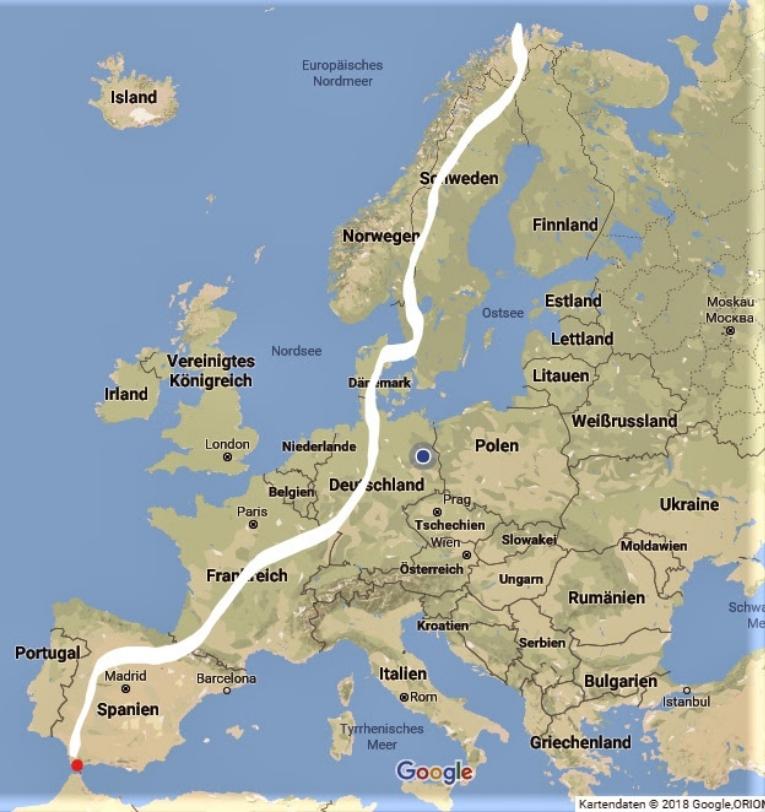 Karte Zu Fuss Von Gibraltar Zum Nordkap Philipp Fuge