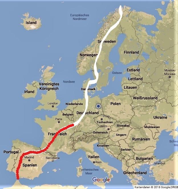Meerenge Von Gibraltar Karte.Tag 101 2593 Baume Zu Fuss Von Gibraltar Zum Nordkap