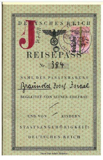 Reisepass von Josef Braunold
