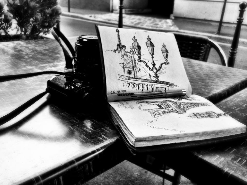 sketching in paris, tour d'eiffel