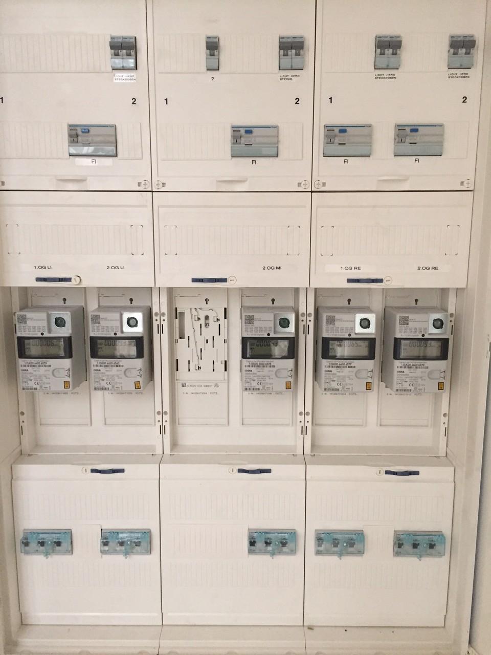 Neue, Elektronische Zähler sind eingebaut und jede Wohnung hat einen funktionierenden FI