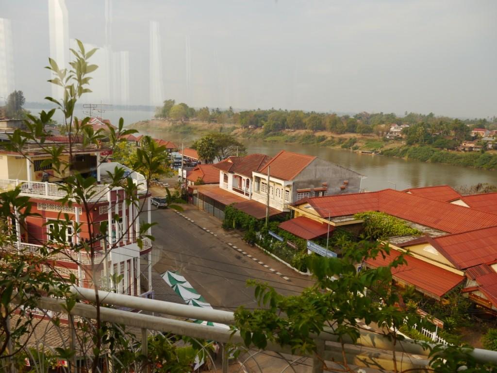 Blick auf Mekong von unserem Zimmer