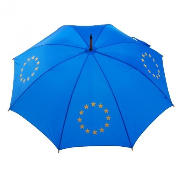 684 Europeese paraplu lang met houten kruk blauw