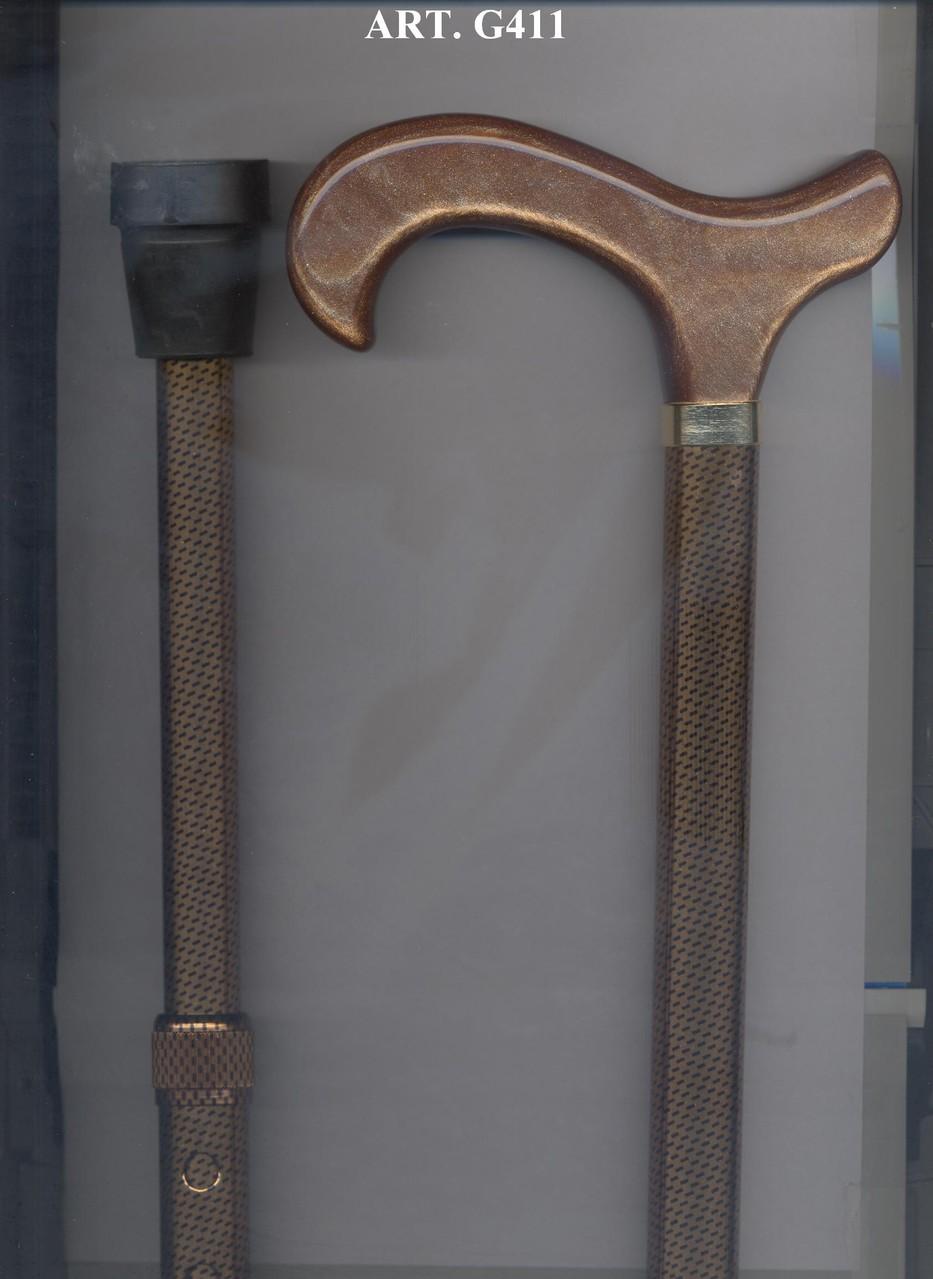 G411 Steunstok teleskopisch alu bruin 20mm bronskleurig handvat