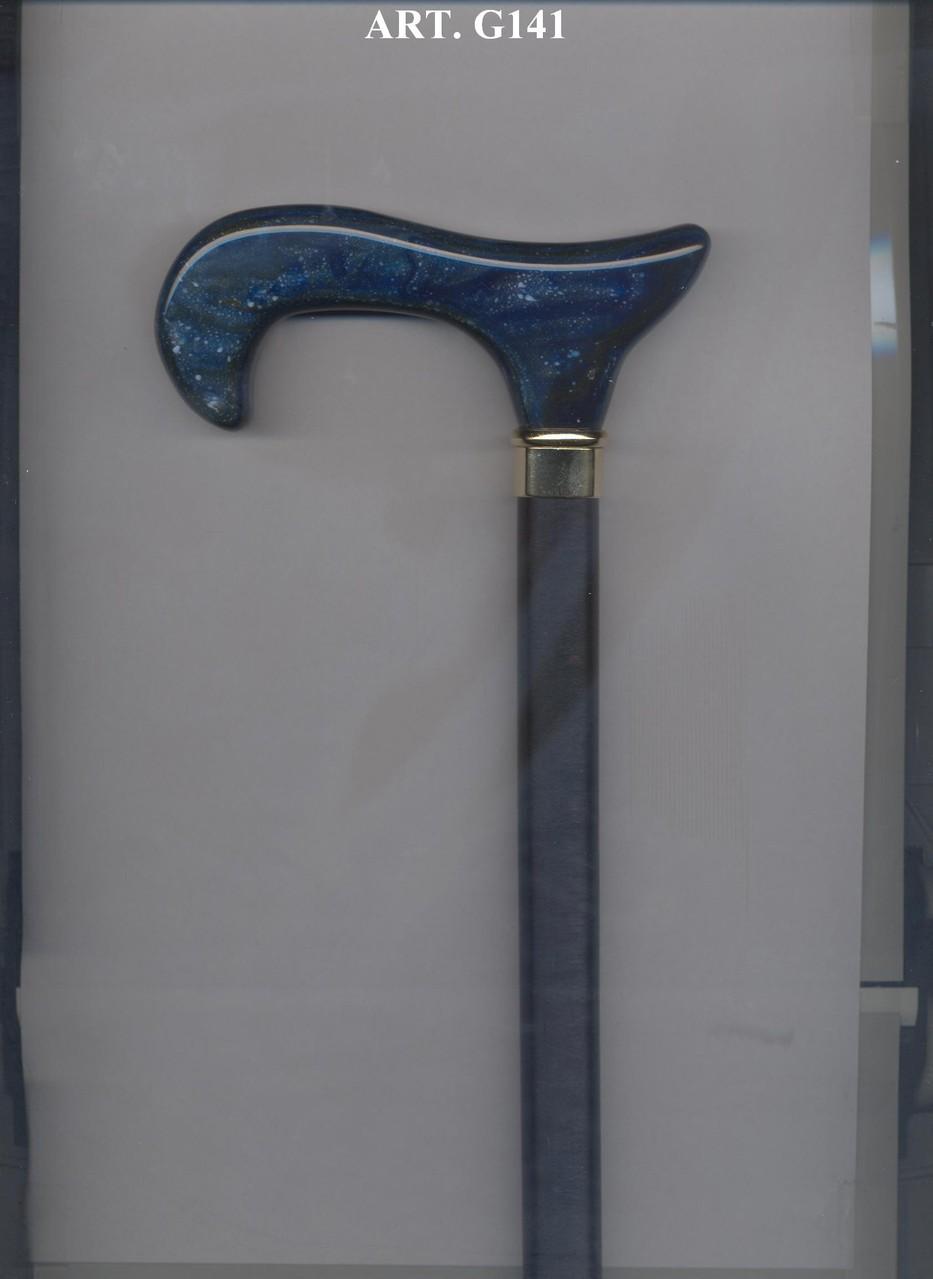 G141 Steunstok zwart hout handvat in blauw