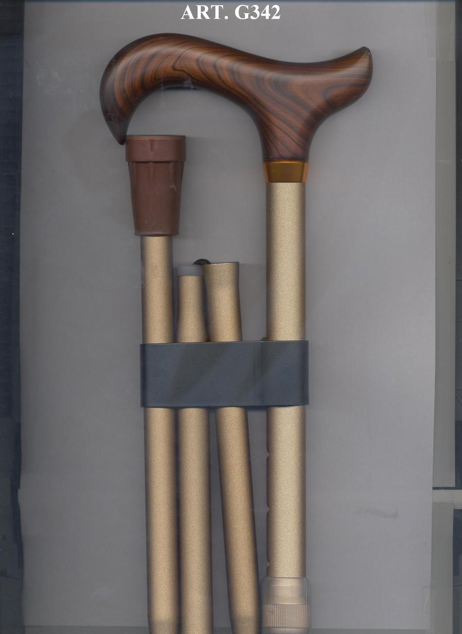 G342 Opvouwbaar steunstok alu beige en bruin handvat