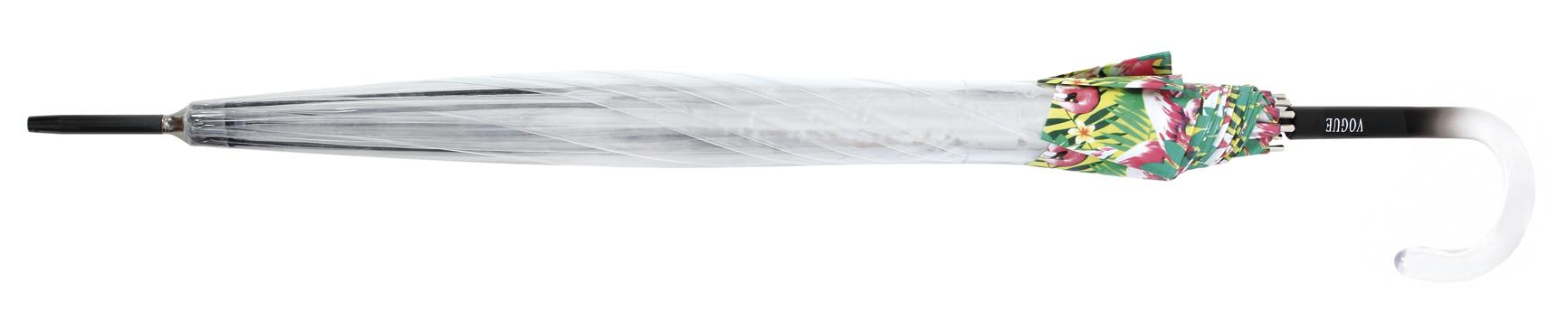 00107V Koepelparaplu doorzichtig boord met bloemen galsvezel baleinen
