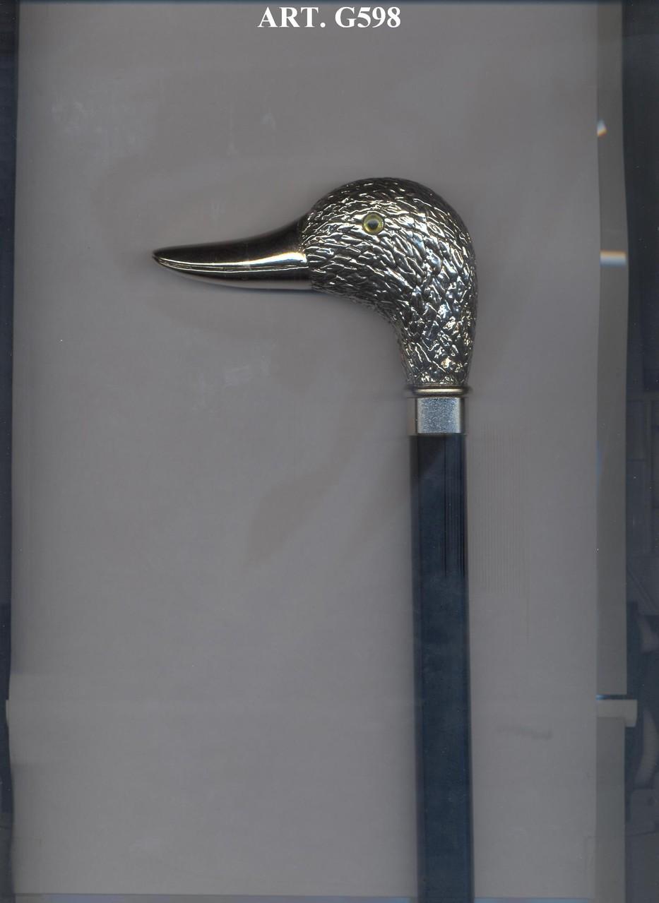 G598 Steunstok zwart en zilver handvat eend