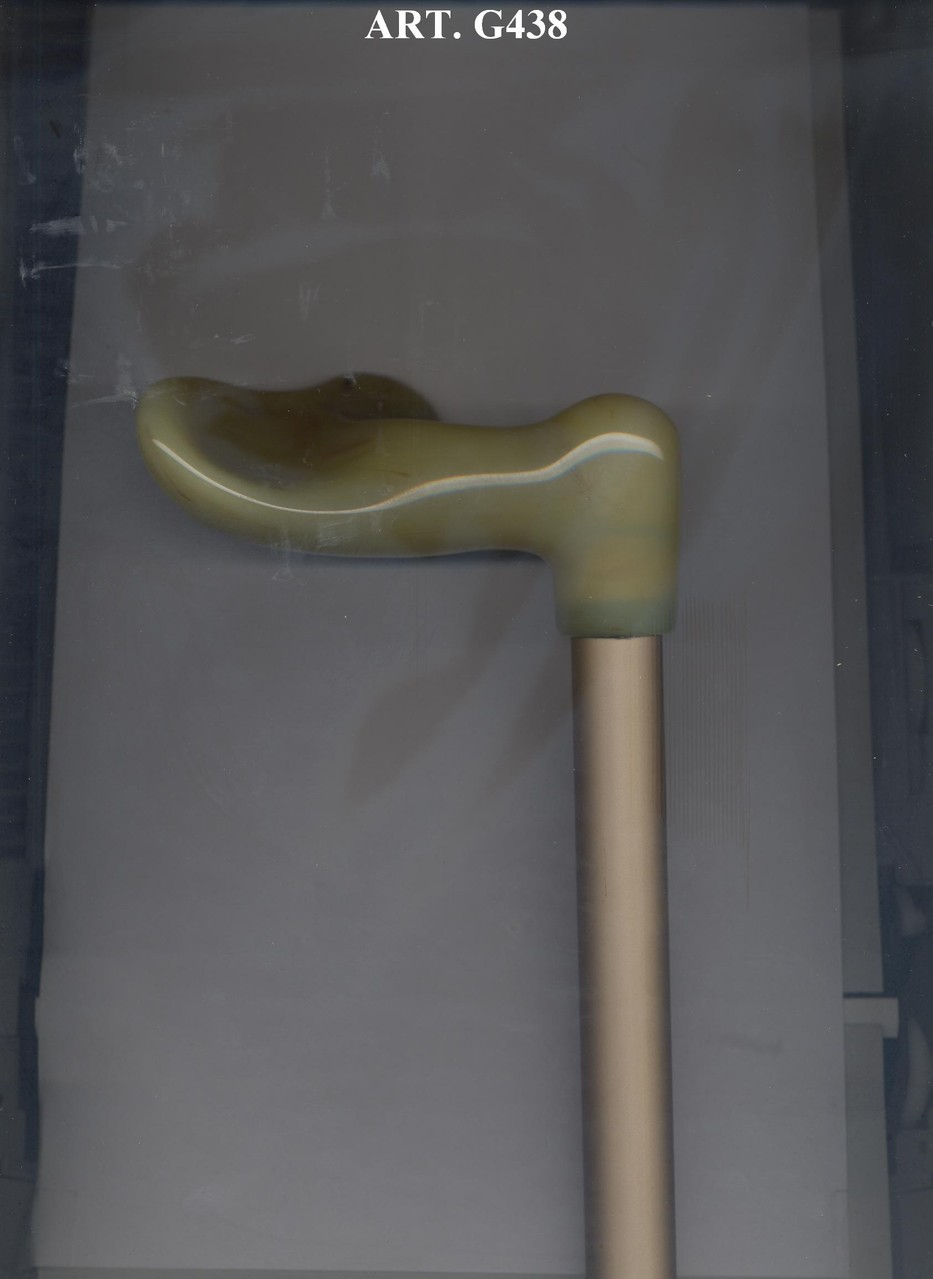 G438 Steunstok telescopisch alu beige en ergonomisch beige handvat rechts