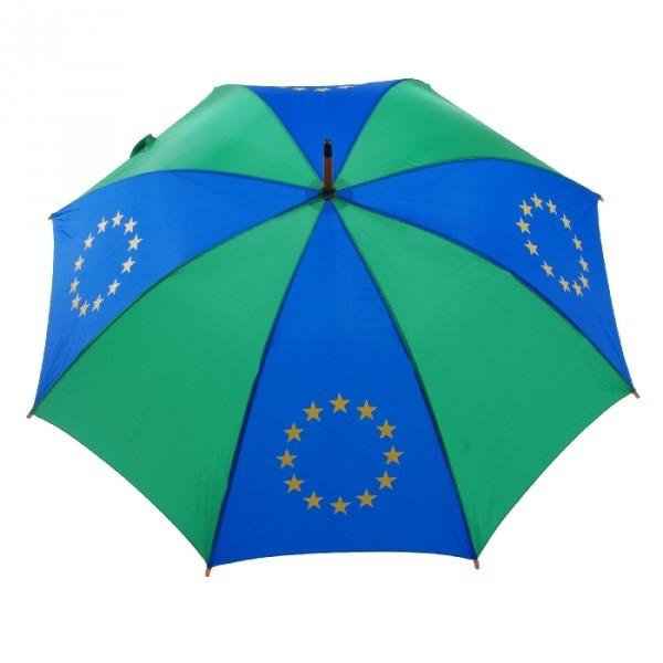 684 Europeese paraplu lang met houten kruk groen en blauw